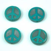 Cseh table cut gyöngy - hosszában fúrt - Peace - 63130-27203- Turquoise Green Silver AB - 16mm