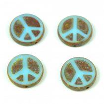 Cseh table cut gyöngy - hosszában fúrt - Peace - 63000-86800 - Turquoise Light Blue Picasso  - 16mm