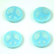 Cseh table cut gyöngy - hosszában fúrt - Peace - 63000-27203- Turquoise Light Blue Silver AB - 16mm