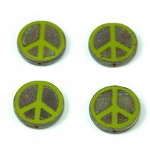 Cseh table cut gyöngy - hosszában fúrt - Peace - 53420-86800 - Green Picasso  - 16mm