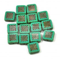 Cseh table cut gyöngy - hosszában fúrt napsugaras négyzet -63130-86800 - Turquoise Green Picasso - 10x10mm