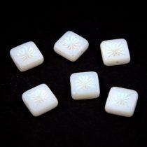 Cseh table cut gyöngy - hosszában fúrt napsugaras négyzet  - 03000-28703 - White AB - 10x10mm