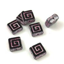 Cseh table cut gyöngy - hosszában fúrt napsugaras négyzet - 03000-86800-65426 - White Bronze - 10x10mm