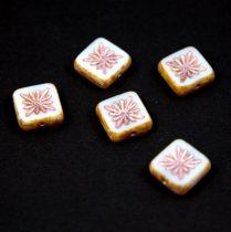 Cseh table cut gyöngy - hosszában fúrt napsugaras négyzet - 03000-86800-54321 - White Metallic Pink - 10x10mm