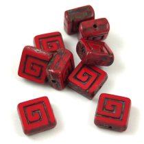Cseh table cut gyöngy - hosszában fúrt napsugaras négyzet - 13040-86800 - Ivory Picasso - 10x10mm