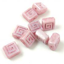 Cseh table cut gyöngy - hosszában fúrt napsugaras négyzet - 23020-8680 - Pale Purple Picasso - 10x10mm