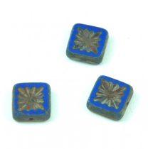 Cseh table cut gyöngy - hosszában fúrt napsugaras négyzet - 33050-84100-86800 Sapphire Picasso - 10x10mm