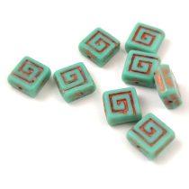 Cseh table cut gyöngy - hosszában fúrt napsugaras négyzet - 81260-86800 - Blood Orange Picasso - 10x10mm