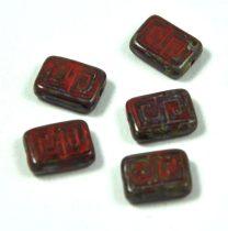 Cseh table cut gyöngy - hosszában fúrt antik tégla - Dark Red - 12x9mm