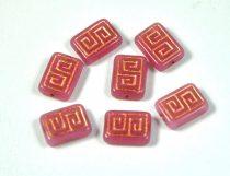 Cseh table cut gyöngy - hosszában fúrt antik tégla - pink - 12x9mm