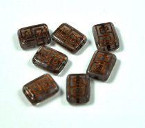 Cseh table cut gyöngy - hosszában fúrt antik tégla - Bronze Opal - 12x9mm