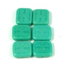 Cseh table cut gyöngy - hosszában fúrt inka négyzet - 63130 - Turquoise Green - 11x12mm
