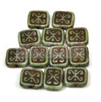 Cseh table cut gyöngy - hosszában fúrt inka négyzet - Brown Turquoise Green - 11x12mm