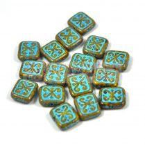 Cseh table cut gyöngy - hosszában fúrt inka négyzet - Mustard Turquoise - 11x12mm