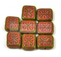 Cseh table cut gyöngy - hosszában fúrt inka négyzet - Olivin Red - 11x12mm
