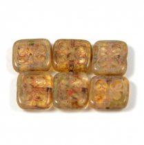 Cseh table cut gyöngy - hosszában fúrt inka négyzet - Crystal Picasso - 11x12mm