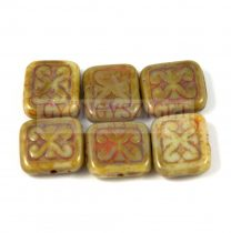 Cseh table cut gyöngy - hosszában fúrt inka négyzet - Alabaster Picasso - 11x12mm