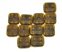 Cseh table cut gyöngy - hosszában fúrt inka négyzet - Transparent Olive Brown - 11x12mm