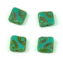 Cseh table cut gyöngy - hosszában fúrt pöttyös négyzet - 63130-86805 - Turquoise Green Picasso- 10x10mm