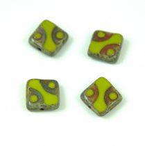 Cseh table cut gyöngy - hosszában fúrt pöttyös négyzet - 53400-86800 - Olive Picasso- 10x10mm