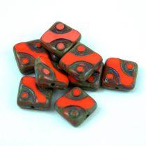 Cseh table cut gyöngy - hosszában fúrt pöttyös négyzet - 93180-86805 - Orange Picasso - 10x10mm