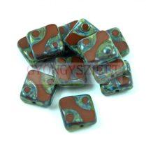 Cseh table cut gyöngy - hosszában fúrt pöttyös négyzet - 13630-86805 - Brown Picasso- 10x10mm