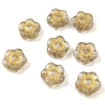 Cseh table cut gyöngy - hosszában metszett tégla lakú - Green Picasso- 11x8mm