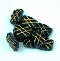 Cseh table cut gyöngy - hosszában metszett tégla lakú - Dark Siam Gold Picasso - 11x8mm