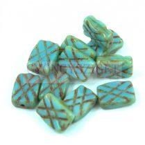 Cseh table cut gyöngy - hosszában metszett tégla lakú - Turquoise Blue Picasso - 11x8mm