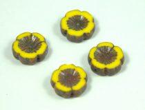Cseh table cut gyöngy - hosszában fúrt virág - 83120-86805 - Yellow Picasso - 14mm