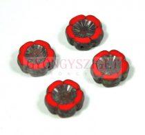 Cseh table cut gyöngy - hosszában fúrt virág - 93200-86805 - Red Picasso - 14mm