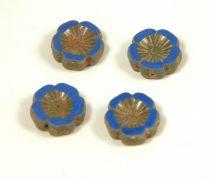 Cseh table cut gyöngy - hosszában fúrt virág - 33040-86805 - Sapphire Picasso - 14mm