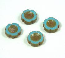 Cseh table cut gyöngy - hosszában fúrt virág - 63020-86805 - Turquoise Blue Picasso - 14mm
