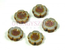 Cseh table cut gyöngy - hosszában fúrt virág - 43020-86805 - Gray Picasso - 14mm