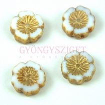 Cseh table cut gyöngy - hosszában fúrt virág - 03000-86800-54302 - White Gold Picasso - 14mm