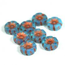 Cseh table cut gyöngy - hosszában fúrt virág - opál kék réz - 12mm