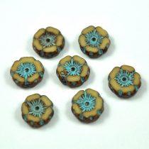 Cseh table cut gyöngy - hosszában fúrt virág - bézs-kék-picasso - 12mm