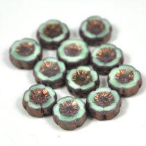 Cseh table cut gyöngy - hosszában fúrt virág - bronz-kék picasso - 12mm