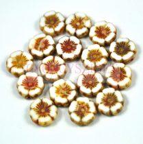 Cseh table cut gyöngy - hosszában fúrt virág - fehér picasso - 12mm