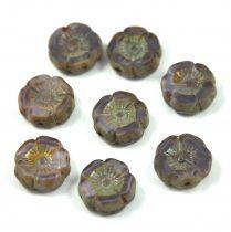 Cseh table cut gyöngy - hosszában fúrt virág - levendula cirmos picasso - 12mm
