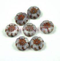 Cseh table cut gyöngy - hosszában fúrt virág - opál levendula cirmos réz - 12mm