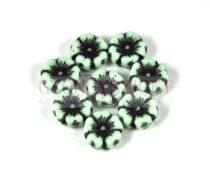 Cseh table cut gyöngy - hosszában fúrt virág - menta picasso - 12mm