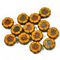 Cseh table cut gyöngy - hosszában fúrt virág - mustár picasso - 12mm
