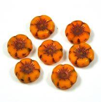 Cseh table cut gyöngy - hosszában fúrt virág - mustár réz picasso - 12mm