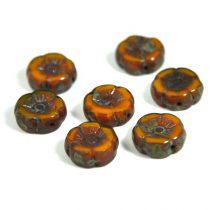 Cseh table cut gyöngy - hosszában fúrt virág - opál mustár picasso - 12mm
