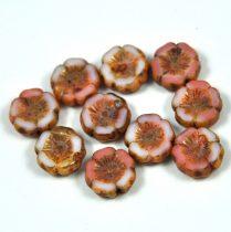 Cseh table cut gyöngy - hosszában fúrt virág - rosemix picasso - 12mm