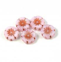 Cseh table cut gyöngy - hosszában fúrt virág - rózsaszín vörösréz lüszter - 12mm