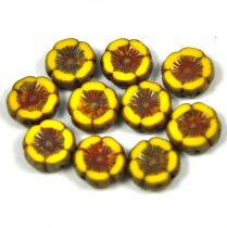 Cseh table cut gyöngy - hosszában fúrt virág - sárga picasso - 12mm