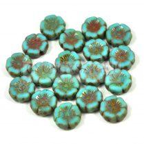 Cseh table cut gyöngy - hosszában fúrt virág - türkiz kék picasso - 12mm