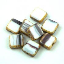 Cseh table cut gyöngy - hosszában fúrt négyzet - White Black Blend Picasso - 03000-23980-86800 - 10x10mm